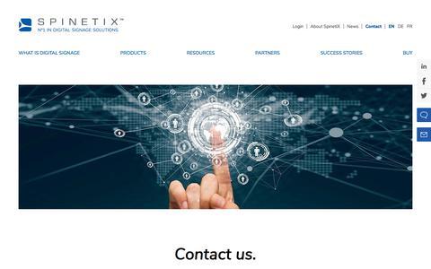 Screenshot of Contact Page spinetix.com - Contact Us | SpinetiX - captured Oct. 31, 2019