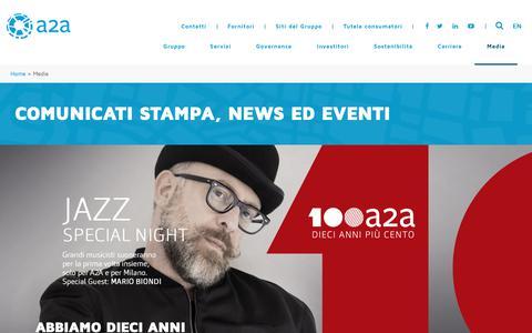 Screenshot of Press Page a2a.eu - Media - A2A - captured Oct. 2, 2018