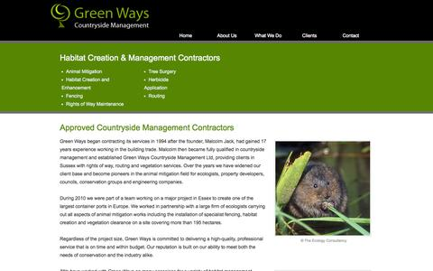 Screenshot of About Page greenwayscm.co.uk - Habitat Creation & Management | Animal Mitigation Contractors Sussex | Green Ways Countryside Management - captured Oct. 3, 2014