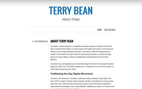Screenshot of About Page terry-bean.com - About Terry Bean - Terry Bean Portland OR - captured May 20, 2016