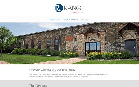 Screenshot of About Page rangedelivers.com - About Range - Range, a Deluxe Company - captured Feb. 13, 2016