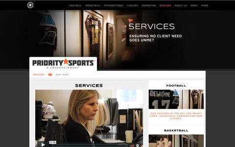 Screenshot of Services Page prioritysports.biz - Services   Priority Sports & Entertainment   www.prioritysports.biz   Chicago . Los Angeles . Sports Agency - captured Sept. 29, 2018