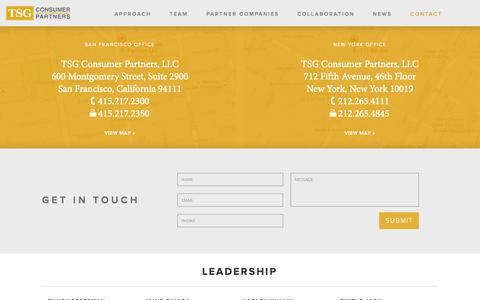 Screenshot of Contact Page tsgconsumer.com - Contact Us - captured Oct. 31, 2014