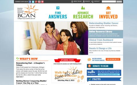 Screenshot of Home Page bcan.org - Bladder Cancer Advocacy Network - BCAN - captured Oct. 5, 2014