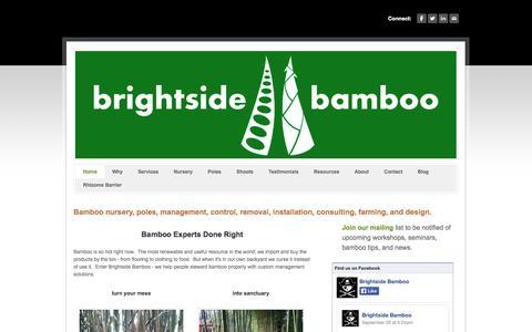 Screenshot of Home Page brightsidebamboo.com - Brightside Bamboo - Bamboo nursery, landscaping, farming, and poles - Brightside Bamboo - captured Sept. 30, 2014