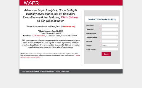 Screenshot of Landing Page mapr.com - MapR Executive Dinner - captured June 21, 2017