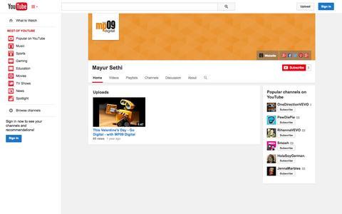 Screenshot of YouTube Page youtube.com - Mayur Sethi  - YouTube - captured Oct. 23, 2014