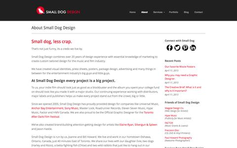 Screenshot of About Page smalldogdesign.ca - Small Dog Design About Small Dog Design - Small Dog Design - captured Sept. 30, 2014