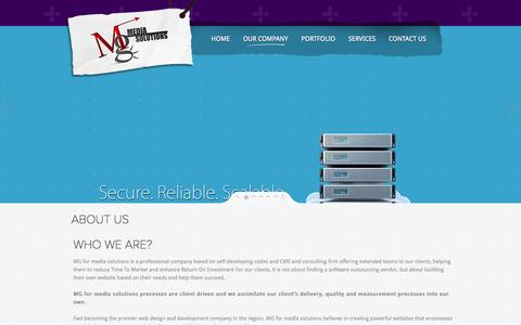Screenshot of About Page mg-me.com - MG for media solutions - Web Design Syria, Website Company, Content Management System, CMS, Web Hosting, Graphic Design,  SEO Services, Syria Turkey Germany - captured Nov. 4, 2014