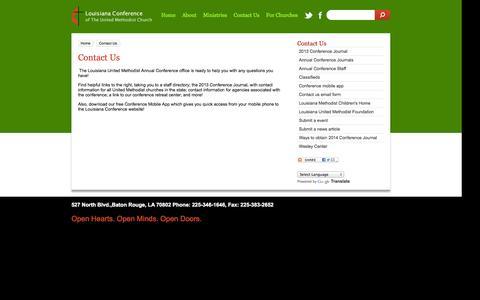 Screenshot of Contact Page la-umc.org - Contact Us - captured Oct. 3, 2014