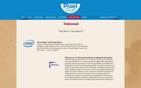 Screenshot of Testimonials Page pixelsoup.com - Props for Pixel Soup | Design and Video Production | Sharon, MA - captured May 18, 2017