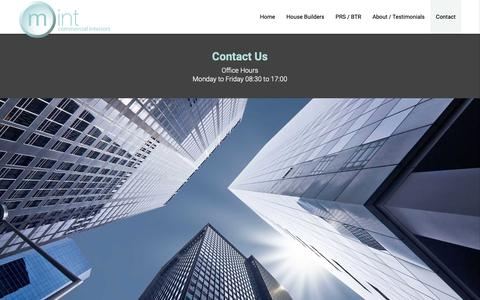Screenshot of Contact Page m-int.co.uk - Contact Mint Commercial Interiors - captured Oct. 20, 2018