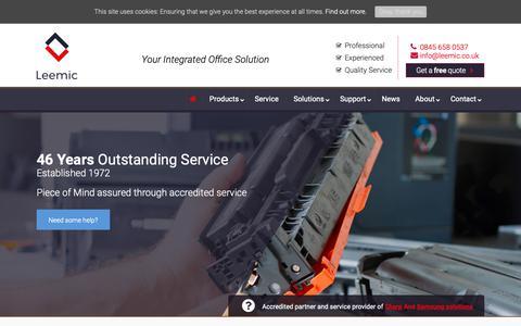 Screenshot of Home Page leemic.co.uk - Photocopier Nationwide Supplier   Samsung & Sharp Gold Partner - captured Sept. 28, 2018