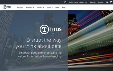 Screenshot of Home Page titus.com - Homepage | Titus - captured Nov. 14, 2018