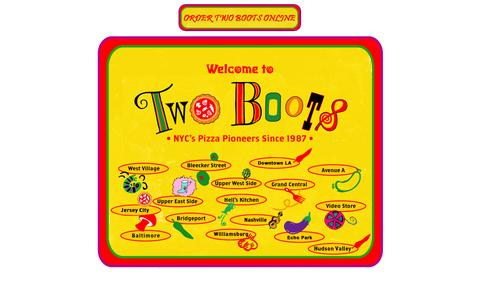 Screenshot of Home Page twoboots.com - Order Online From Two Boots Locations - captured Sept. 18, 2014