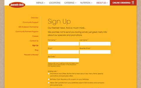 Screenshot of Signup Page jasonsdeli.com - Coupons and Promos | Newsletter Sign Up | Jason's Deli - captured Sept. 20, 2018