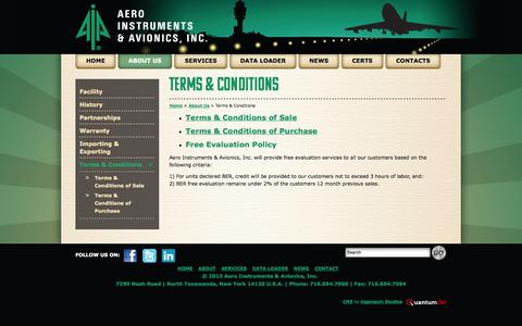 Screenshot of Terms Page aeroinst.com - Terms & Conditions - Aero Instruments & Avionics, Inc. - captured Oct. 4, 2014