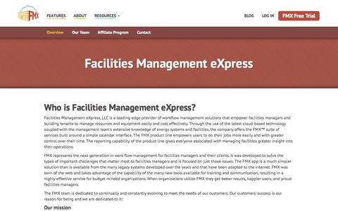 Screenshot of About Page gofmx.com - About FMX - Facilities Management eXpress - captured Nov. 3, 2014