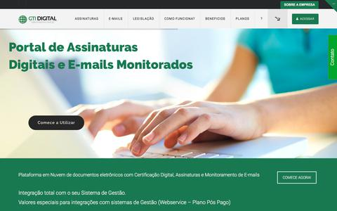 Screenshot of Home Page gtidigital.com - GTI Digital | Portal de Assinaturas Digitiais - captured July 4, 2018