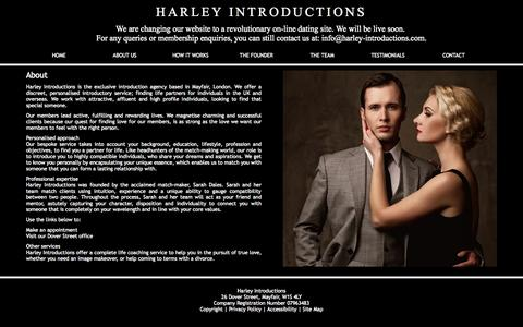 Screenshot of About Page harley-introductions.co.uk - Harley Introductions, Introductory Agency in London, W1. - captured Sept. 29, 2014