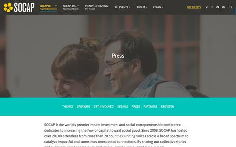 Screenshot of Press Page socialcapitalmarkets.net - Press | SOCAP - captured Sept. 21, 2018