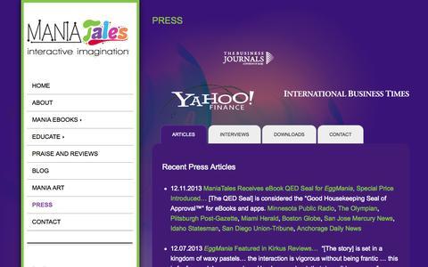 Screenshot of Press Page maniatales.com - ManiaTales   Press   EggMania   Maysonave   News   Interviews - captured Oct. 2, 2014