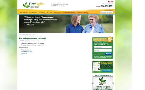 Screenshot of About Page firstlighthomecare.com - Page Does Not Exist - FirstLight HomeCare - captured Sept. 24, 2014