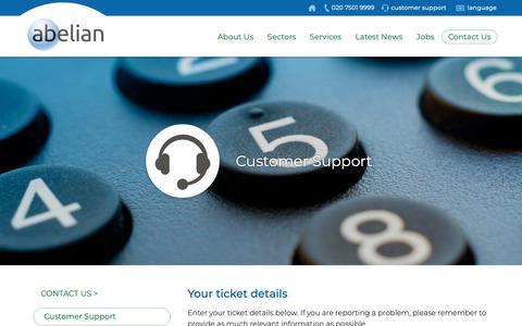 Screenshot of Support Page abelian.com - Contact Abelian Customer Support - captured Oct. 2, 2018