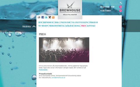 Screenshot of Press Page brewhouse.se - För presskontakt på Brewhouse i Göteborg kontakta Anna Svensdotter Dimle, för pressmeddelanden MyNewsdesk. - captured Oct. 5, 2014