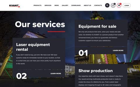 Screenshot of Services Page kvantlasers.sk - Pages | Kvantlasers.sk - Laser Show Systems - captured Oct. 14, 2018