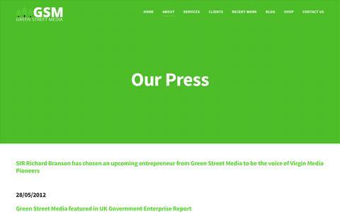 Screenshot of Press Page greenstreetmedia.eu - Our Press - Green Street Media - captured May 24, 2017