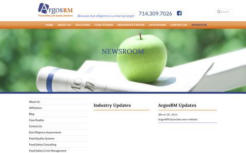 Screenshot of Press Page argosrm.com - Newsroom - ArgosRM - captured Nov. 6, 2018