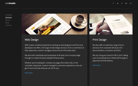 Screenshot of Services Page corekreativ.com - Core Kreativ - Services - captured Sept. 30, 2014