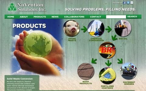 Screenshot of Products Page nuventionsolutions.com - Products | Nuvention - captured Oct. 7, 2014