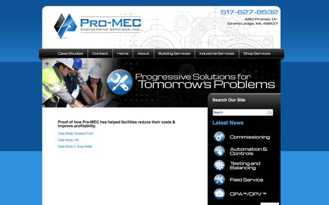 Screenshot of Case Studies Page pro-mec.com - Case Studies | Pro-MEC Engineering Services - Saving Building & Facilities Managers & Owners time, money and hassles by providing analysis, metrics and field service plans for core building systems - captured Jan. 31, 2016