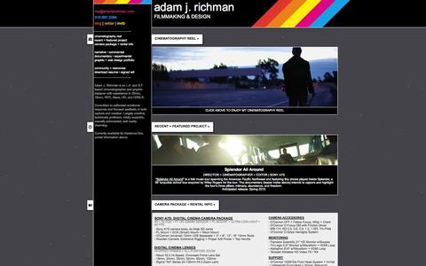 Screenshot of Home Page adamjrichman.com - adam j. richman   filmmaking & design - captured Oct. 24, 2014