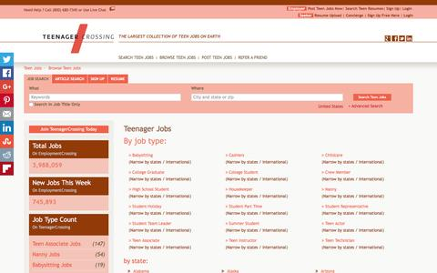 Screenshot of Jobs Page teenagercrossing.com - Teenager Jobs, Browse Jobs in Teenager By Job Type, City, State in United States   TeenagerCrossing.com - captured Feb. 24, 2016
