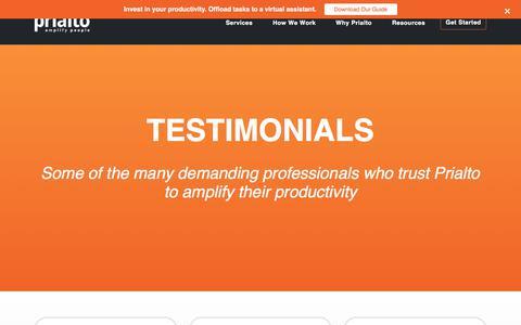 Screenshot of Testimonials Page prialto.com - Testimonials - captured Aug. 30, 2019