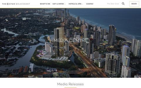 Screenshot of Press Page star.com.au - Media Centre | The Star Gold Coast - captured Oct. 14, 2018