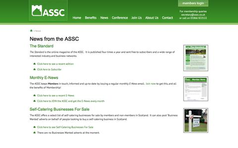 Screenshot of Press Page assc.co.uk - News from the ASSC - Association of Scotland's Self-Caterers - captured Sept. 24, 2014