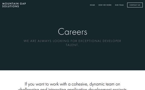 Screenshot of Jobs Page mountaingapsolutions.com - Careers — Mountain Gap Solutions - captured Sept. 21, 2018