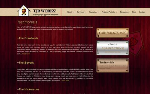 Screenshot of Testimonials Page tjrworks.com - Testimonials | TJR Works! - captured Oct. 7, 2014