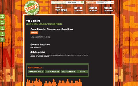 Screenshot of Contact Page togos.com - Togo's - Great Sandwiches - captured Sept. 25, 2014