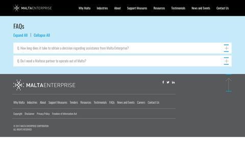 Screenshot of FAQ Page maltaenterprise.com - Frequently asked questions | Malta Enterprise - captured July 7, 2017