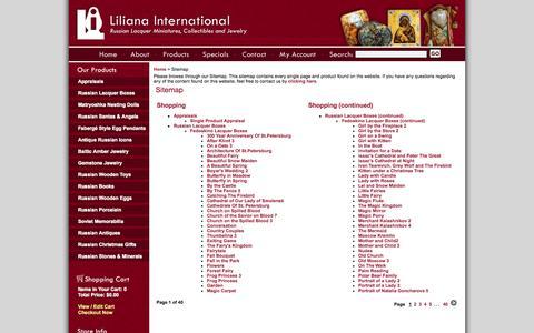 Screenshot of Site Map Page lilianainternational.com - Russian Art and Gifts | Sitemap | Liliana International - captured Sept. 30, 2014