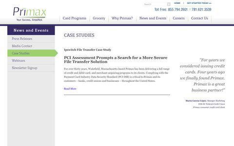 Screenshot of Case Studies Page primax.us - Case Studies | Primax - captured July 21, 2018