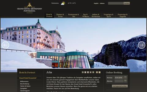 Screenshot of Jobs Page kronenhof.com - Grand Hotel Kronenhof Pontresina: Jobs - captured Jan. 31, 2016