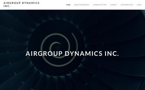 Screenshot of Home Page adiaero.com - Airgroup Dynamics Inc. - Home - captured Oct. 7, 2017
