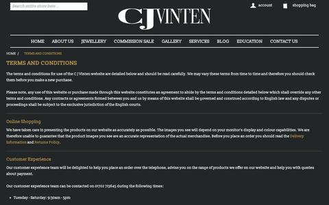 Screenshot of Terms Page cjvinten.co.uk - Terms and conditions | cjvinten.co.uk - captured Sept. 25, 2018