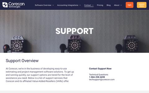 Screenshot of Support Page corecon.com - Support | Corecon Technologies, Inc - captured Sept. 22, 2018